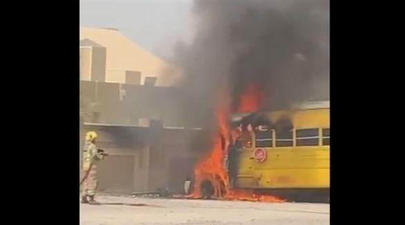 احتراق حافلة مدرسة  برأس الخيمة.. ولا إصابات