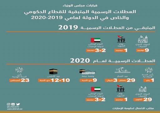 مجلس الوزراء يعتمد العطلات الرسمية لعامي 2019 و2020