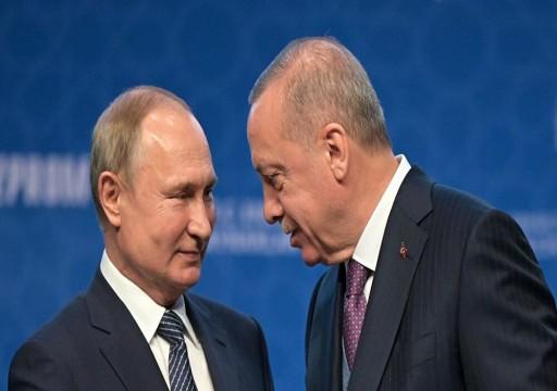 أردوغان وبوتين  يتفقان على مواصلة التعاون حول القضايا الإقليمية