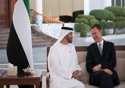 محمد بن زايد يستقبل وزير الخارجية البريطاني