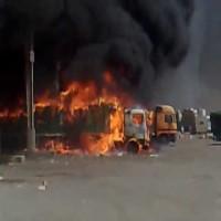 قوات إماراتية تساند في إخماد حريق بجمارك البطحاء السعودي