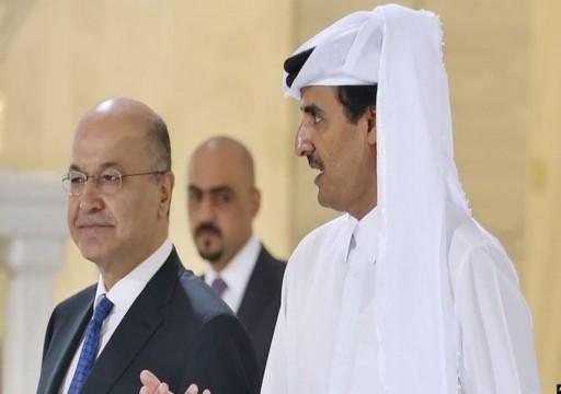 أمير قطر يبحث مع الرئيس العراقي الأوضاع في البلاد بعد الهجوم الأمريكي