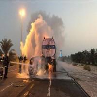 إصابة مواطن بحادث تصادم بين مركبة وشاحنة مقطورة في الظفرة