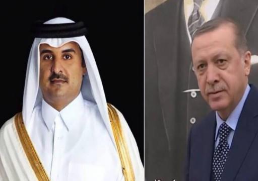 أردوغان يبحث مع أمير قطر تطورات الوضع في ليبيا والعراق
