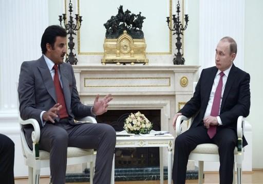 بوتين يبحث مع أمير قطر ضمان الأمن والاستقرار في الخليج