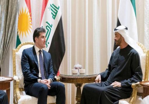 بارزاني ومحمد بن زايد يبحثان التطورات الأمنية في العراق والمنطقة