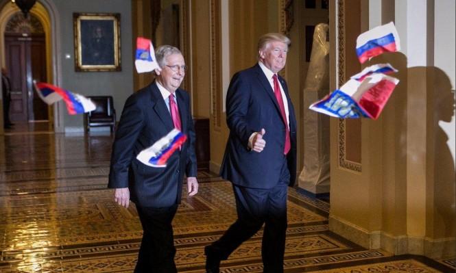 ترامب يتعرض لهجوم داخل الكونغرس والقذف بأعلام روسية