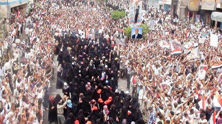 حشود مليونيه في صنعاء ضد ممارسات المتمردين الحوثيين