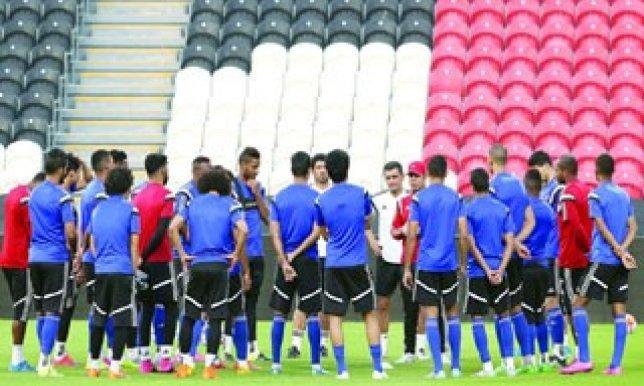 منتخبنا الوطني يكثف التدريبات استعداداً لملاقاة الأخضر السعودي
