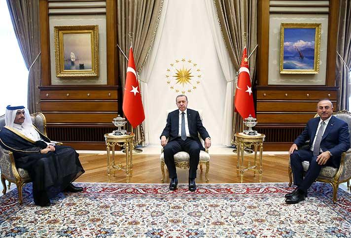 أردوغان يستقبل وزير خارجية قطر في اجتماع مغلق