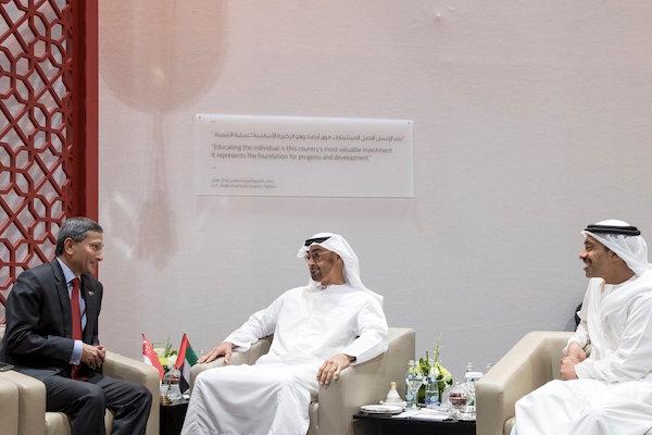 محمد بن زايد يستقبل وزير خارجية سنغافورة