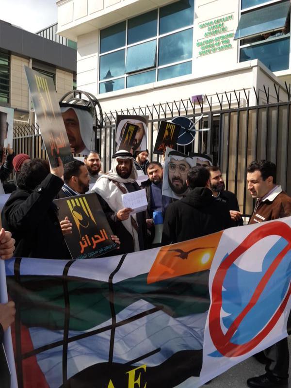 """إماراتيون ينظمون وقفة احتجاجية بتركيا تضامنا مع """"الشقيقات الثلاث"""""""